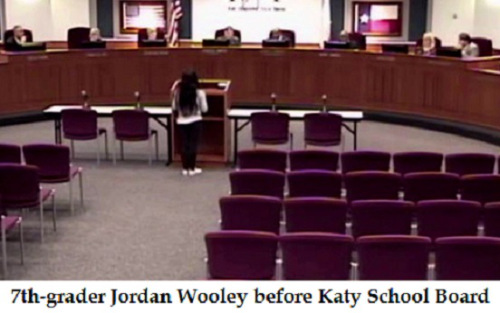 Jordan Wooley testifies before Katy School Board