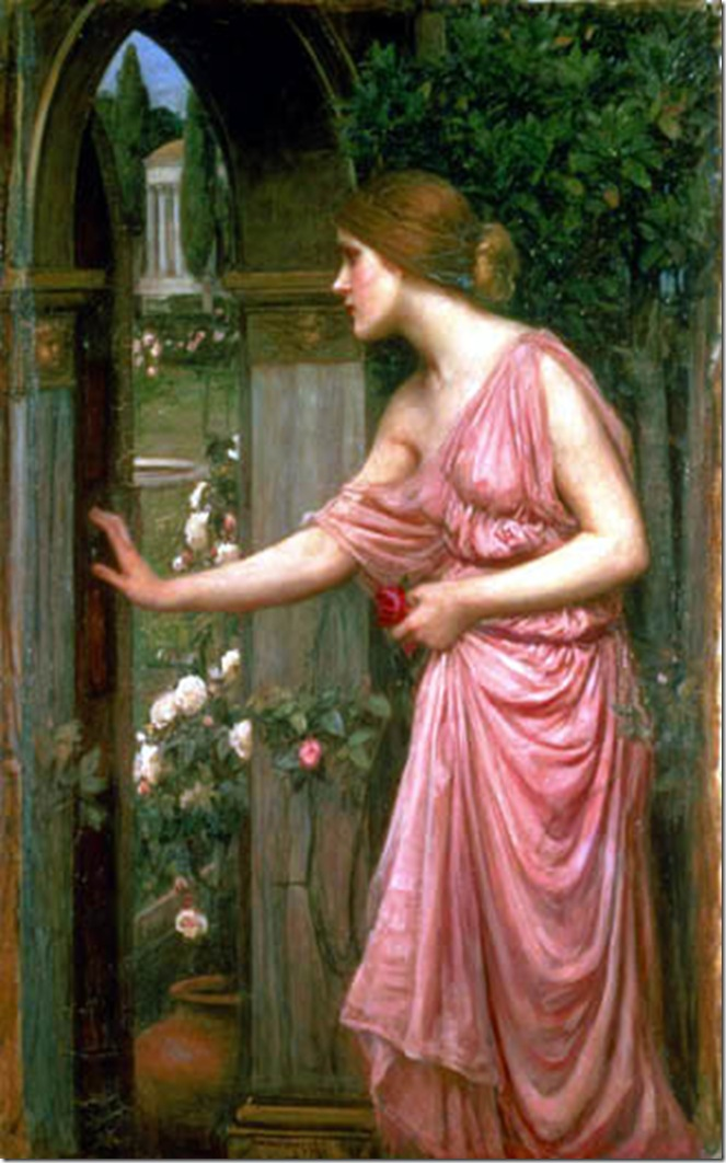 Waterhouse's Psyche opening the door of Cupid's garden